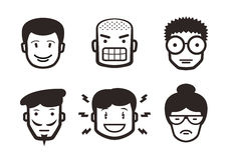Sistema de pictogramas emocionales Imagenes de archivo