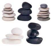 Sistema de piedras aisladas en blanco Fotografía de archivo libre de regalías