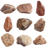 Sistema de piedras aisladas en el fondo blanco imagen de archivo