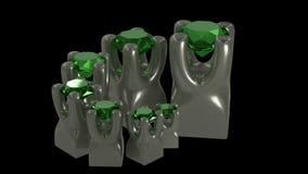 Sistema de piedras de gemas en el ejemplo del soporte 3d del tenedor del metal Fotos de archivo