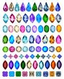 Sistema de piedras preciosas de diversos cortes y color fotos de archivo