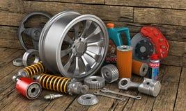 Sistema de piezas de automóvil en imagen de archivo libre de regalías