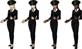 Sistema de 4 pilotos de sexo femenino del aeroplano en trajes Fotografía de archivo
