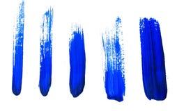 Sistema de pinceladas de acrílico azules fotografía de archivo
