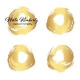 Sistema de pintura del oro, movimientos del cepillo de la tinta, cepillos, líneas Elementos artísticos sucios del diseño, cajas,  ilustración del vector