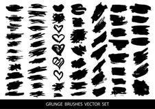 Sistema de pintura negra, movimientos del cepillo de la tinta, cepillos, líneas Elementos artísticos sucios del diseño, cajas, ma ilustración del vector