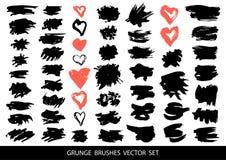 Sistema de pintura negra, movimientos del cepillo de la tinta, cepillos, l?neas Ilustraci?n del vector ilustración del vector