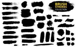 Sistema de pintura negra, tinta, grunge, movimientos sucios del cepillo ilustración del vector