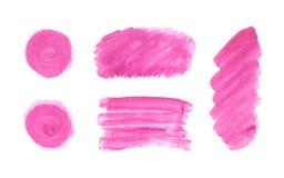 Sistema de pintura rosada de la mano de la mancha, formas redondas de Borgoña, rectángulo carmesí, rayas, círculos, líneas aislad ilustración del vector
