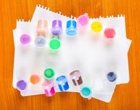 Sistema de pinturas coloridas Imágenes de archivo libres de regalías
