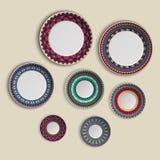 Sistema de placas con el ornamento tribal étnico elegante de la mandala en estilo del boho Ejemplo casero de la decoración ilustración del vector