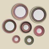 Sistema de placas con el ornamento tribal étnico elegante de la mandala en estilo del boho Ejemplo casero de la decoración stock de ilustración