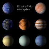 Sistema de planetas de la Sistema Solar en la representación negra del fondo 3d Foto de archivo