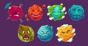 Sistema de planetas extranjeros de la fantasía de los ejemplos de la historieta del vector que muestran diversas emociones libre illustration
