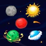 Sistema de planetas fantásticos de la historieta Fotografía de archivo