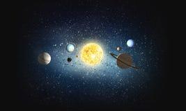 Sistema de planetas Meios mistos Imagens de Stock Royalty Free