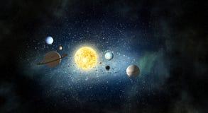 Sistema de planetas Técnicas mixtas Foto de archivo libre de regalías