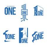 Sistema de plantillas azules y blancas del logotipo del número uno libre illustration