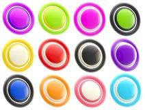 Sistema de plantillas brillantes coloridas del botón aisladas Imagen de archivo libre de regalías