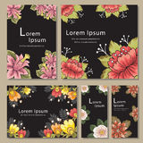 Sistema de plantillas de la tarjeta de la invitación con la flor Imagen de archivo