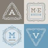 Sistema de plantillas de los logotipos en la mono línea estilo Imágenes de archivo libres de regalías