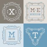 Sistema de plantillas de los logotipos en la mono línea estilo Libre Illustration