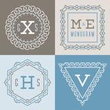 Sistema de plantillas de los logotipos en la mono línea estilo Ilustración del Vector