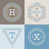 Sistema de plantillas de los logotipos en la mono línea estilo Stock de ilustración