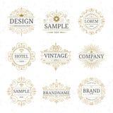 Sistema de plantillas de lujo del logotipo del vintage Foto de archivo libre de regalías