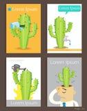 Sistema de plantillas del cactus y del agua del diseño del folleto Fotos de archivo libres de regalías