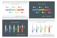 Sistema de plantillas del diseño de Infographic de la cronología Plantilla isométrica carta de columna 3d Diseño de la caja infog stock de ilustración