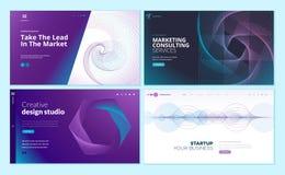 Sistema de plantillas del diseño de la página web con el fondo abstracto para el negocio, márketing, agencia del diseño libre illustration