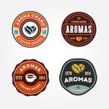 Sistema de plantillas del logotipo del café stock de ilustración