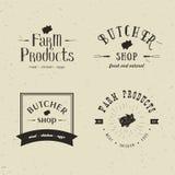 Sistema de plantillas diseñadas retras del logotipo de la carnicería El emblema de la tienda de carne de la carnicería con la sil libre illustration