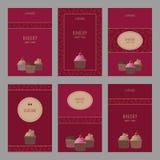 Sistema de plantillas hermosas de las tarjetas Tarjetas lindas con la magdalena Imagen de archivo