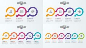 Sistema de plantillas infographic de la cronología con las flechas circulares Fotografía de archivo