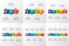 Sistema de plantillas infographic de la cronología del estilo del rompecabezas del vector Imagen de archivo libre de regalías