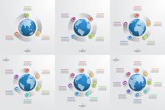 Sistema de plantillas infographic del círculo con el globo Concepto del asunto Fotografía de archivo