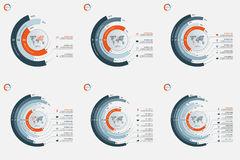 Sistema de plantillas infographic del círculo con 3-8 opciones Foto de archivo