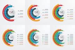 Sistema de plantillas infographic del círculo con 3-8 opciones libre illustration