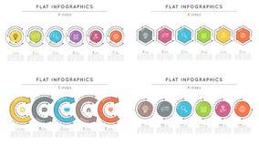 Sistema de plantillas infographic del estilo 6 de la cronología plana de los pasos stock de ilustración