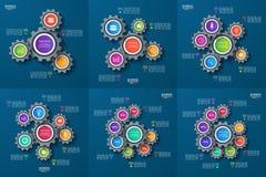 Sistema de plantillas infographic del vector con los engranajes, ruedas dentadas Imagen de archivo libre de regalías