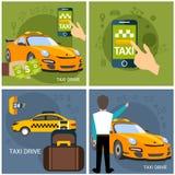 Sistema de plantillas de la disposición de la empresa de servicios del taxi ilustración del vector