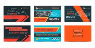 Sistema de plantillas de la disposición de tarjetas de la empresa de servicios de la reparación de automóviles Fotos de archivo libres de regalías