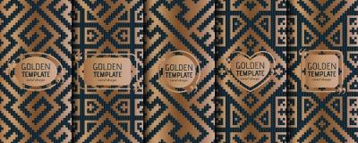 Sistema de plantillas de lujo de oro Geométrico abstracto Imágenes de archivo libres de regalías