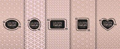 Sistema de plantillas de lujo de oro Geométrico abstracto Fotos de archivo