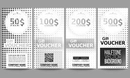 Sistema de plantillas modernas del vale de regalo halftone Imágenes de archivo libres de regalías