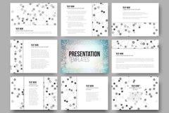 Sistema de 9 plantillas para las diapositivas de la presentación Fotografía de archivo