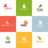 Sistema de plantillas y de iconos del logotipo de la belleza y de la naturaleza Imagen de archivo