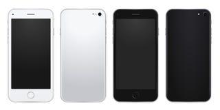 Sistema de plata y plantilla negra del teléfono móvil con las pantallas en blanco Imágenes de archivo libres de regalías